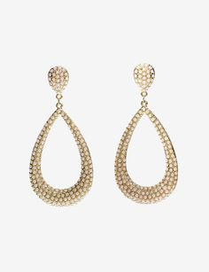 Gold and Stone Teardrop Earrings