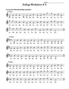 Free Solfege Worksheets for Classroom Instruction Vocal Lessons, Violin Lessons, Singing Lessons, Music Lessons, Singing Tips, C Major, Middle School Choir, Music Theory Worksheets, Do Re Mi