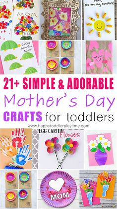 simple and adorable Mother's Day crafts for toddlers! All these cards, crafts and gifts are things that toddlers can and moms will cherish! Easy Mother's Day Crafts, Mothers Day Crafts For Kids, Diy Mothers Day Gifts, Crafts For Kids To Make, Mothers Day Cards, Happy Mothers Day, Kids Crafts, Easy Gifts, Homemade Gifts