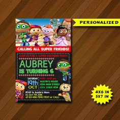 Hey, I found this really awesome Etsy listing at https://www.etsy.com/listing/472548214/super-why-invitation-super-why-birthday