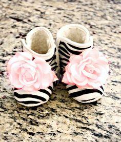 Boutique Zebra Baby Girl Booties Little Girls Shoes Ballet Pink flower Non Skid Newborn Infant- Children - Baby Shower Gift. $19.99, via Etsy. So cute!