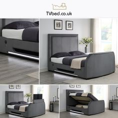 No Promo Needed For This Bed! 🛏️ This brand new restyled TV Bed is both stunning and innovative with an elegant style✨ - Order Now & Recieve FREE Delivery!  Tv Bed Frame, Cosy Bed, Tv Beds, Large Tv, Bed Storage, Bed Sizes, Grey Fabric, Free Delivery, Mattress