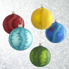 Global Flocked Glitter Ball Ornaments  | Crate and Barrel