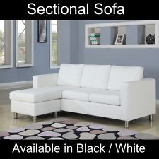 Small White Faux Leather Sectional Sofa Set Modern Couch Perfect for Dorm