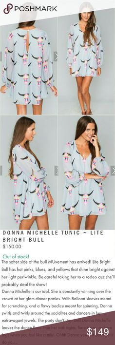 New show me your mumu tunic dress light bull donna Brand new with tag donna Michelle long-sleeved tunic mini dress in lite grey bright bull by show me your mumu. Small. Features keyhole opening at back with button closure, sheer long sleeves and a beautiful original sold out SMYM bull skull print in pink, black, white & yellow on a lavender gray background. See my other mu listings! No trade please. The price is firm. Price reflects high percentage posh commission fees Show Me Your MuMu…