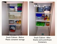 Kitchen Re-organization - Snack cabinet. Went from Tupperware storage to  being the snack