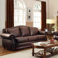 Leather Trimmed Sofa