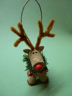 Handmade Cork Reindeer Christmas Ornament   eBay