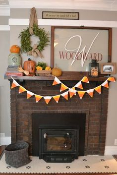 Candy corn quilted pennants
