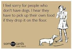 I feel sorry for people who don't have dogs. I hear they have to pick up their own food if they drop it on the floor!! WHAT??!