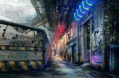Oriental Cyberpunk Walkway, Lamberto Azzariti on ArtStation at https://www.artstation.com/artwork/8wmeE