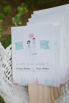 DIY Whimsical Wedding Party Sketch Program Fans | The Bird & The Bear Photography & Films https://www.theknot.com/marketplace/the-bird-and-the-bear-photography-and-films-austin-tx-764417