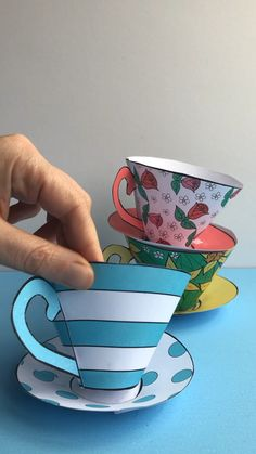 A fun Mothers Day Printable! Our classic paper teacups revamped for Mothers Day with three new patterns that you can print ready to assemble or colour your own! Fill with chocolates treats teabags or homemade bath bombs! Mothers Day Crafts For Kids, Paper Crafts For Kids, Easy Crafts For Kids, Fun Crafts, Art For Kids, Paper Cup Crafts, Alice In Wonderland Tea Party Birthday, Wonderland Party, Paper Tea Cups