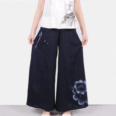 nature linebluedark blueCasual Wide Leg Pants by Sunflowercloth, $75.00