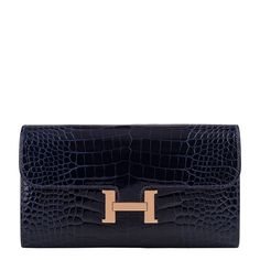 #Hermes Constance #Clutch #Wallet Blue Marine Alligator Rose Gold Hardware