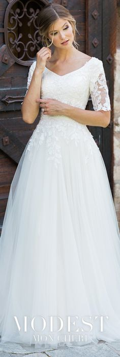 Modest Wedding Dresses - Lace and tulle A line gow. Modest Wedding Dresses – Lace and tulle A line gown features sheer short sleeves with modest cap sleeves, curved V neck Lace Dress With Sleeves, Lace Dresses, Tulle Dress, Modest Dresses, Elegant Dresses, Cap Sleeves, Short Sleeves, Tulle Skirts, Dress Lace