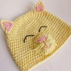 Happy Kitty Hat crochet pattern by Darleen Hopkins #crochet #crochetpattern