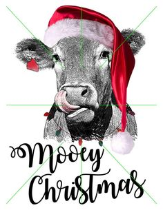 Your place to buy and sell all things handmade Christmas Drawing, Christmas Paintings, Christmas Art, Christmas Humor, Christmas Decorations, Grinch Decorations, Cute Cows, Cow Art, Shirt Designs