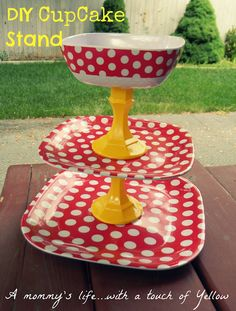 DIY Polka Dot Cupcake Stand.  This could be great for a fruit plate with the dip at the top.
