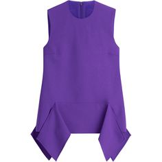 Victoria, Victoria Beckham Wool Sleeveless Draped Top (18.860 RUB) ❤ liked on Polyvore featuring tops, purple, purple peplum top, drapey tank tops, stretch tank top, peplum tanks and purple tank top