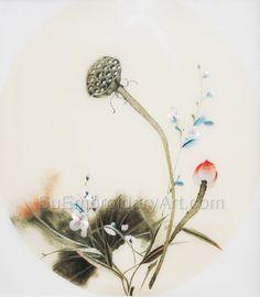 Hand Stitching, Peonies, Lotus, Wreaths, Embroidery, Silk, Artwork, Flowers, Lotus Flower