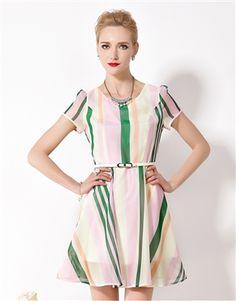 Stripe Print Dress Daytime Dresses, Stripe Print, Dresses For Work, Color, Beautiful, Collection, Style, Fashion, Moda