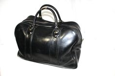 Vintage 50's 60's Black Travel Duffle Bag by DieVoltVintage