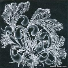 Mooka in Black 2 by Sharla R. Hicks, Certified Zentangle Teacher copyright 2014