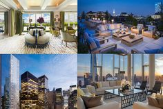 Not All $65-Million Manhattan Penthouses Are Made the Same - Mansion Global Manhattan Penthouse, Pent House, Living Spaces, Patio, Table Decorations, Mansions, Architecture, House Styles, Outdoor Decor