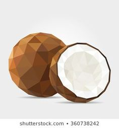 Polygonal Coconut in Vector Geometric Nature, Geometric Drawing, Geometric Shapes, Coconut Vector, Interior Design Principles, Pixel Drawing, 3d Printing Business, Triangle Art, Polygon Art