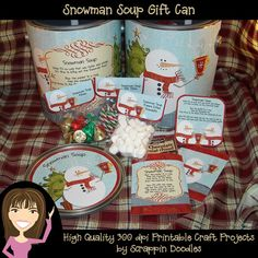 Snowman Soup Altered Can Gift Set