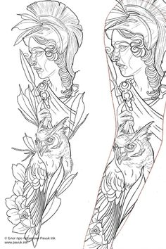 Tattoo Outline Drawing, Tattoo Design Drawings, Tattoo Sketches, Half Sleeve Tattoos Drawings, Tattoo Sleeve Designs, Body Art Tattoos, Dragon Tattoo Designs, Athena Tattoo, Mythology Tattoos