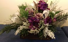 Frosted Purple Winter Floral Arrangement in Wood Box by Randi Sheldon at Michaels 1600