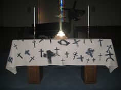 Lenten tablecloth that was begun on Ash Wednesday and finished after worship on the first Sunday of Lent.
