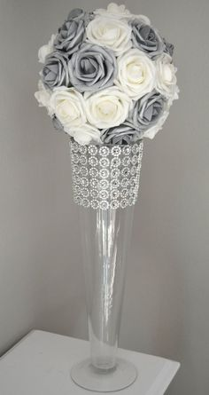 Silver & White Kissing Ball. You will be amazed at how real and stunning the Real Touch roses look. A colored ribbon to match your wedding
