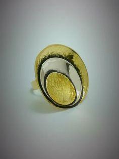 Δαχτυλίδι από ορείχαλκο και αλπακά σε ιδιαίτερο σχήμα!