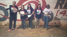 Professores do NS de Cambará, na greve de 2015, panfletando à noite no bairro São José II. Adesão alcançou 90℅.