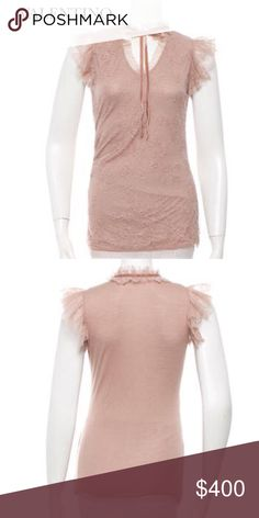 "VALENTINO BLUSH TULLE TOP Valentino couture sleeveless top with lace overlay, ruffle trim at shoulder and scalloped trim. Color: Neutrals, Blush. Material: 100% Viscose. Size 4 XS/S Approx Measurements: Bust 32-33"", Waist 28"", Length 27"". Sold Out!! Valentino Tops"
