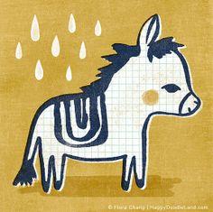Little Donkey, 8 x 8 Print by HappyDoodleLand on Etsy