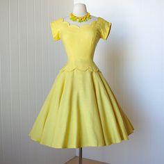 on HOLD vintage 1950's dress ...designer MR. MORT by betty carol sunshine linen scalloped full circle skirt pin-up cocktail party dress