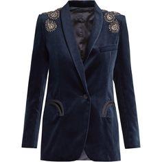 Blazé Milano Midnight Smoking Jealousy velvet blazer (58.885 RUB) ❤ liked on Polyvore featuring outerwear, jackets, blazers, coats & jackets, blaze milano, navy, navy shawl, navy blue velvet blazer, velvet blazer and sparkly jacket