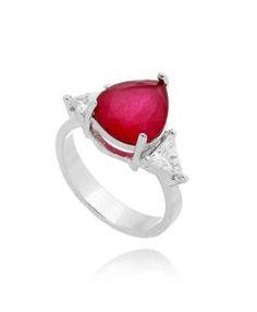 anel delicado rubi com zirconias cristais e banho de rodio semi joias modernas