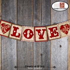 Valentine's Day Banner  Love Banner  Bunting by frostingandink, $10.00