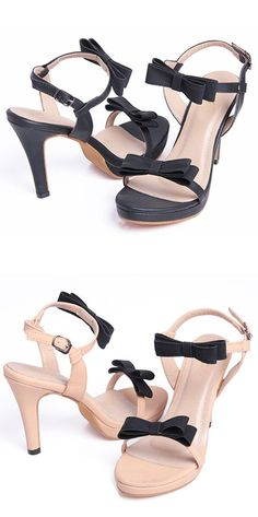cd0419bc16 Material:PU|Heel Height:8cm|Embellishment:Bow #SandalsHeels Simple Sandals
