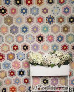 "$245 Vintage 30s Fussy Cut Grandmothers Flower Garden QUILT Novelty Feedsacks 77x71"" www.Vintageblessings.com"
