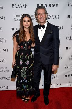 Miroslava Duma looked chic in a black printed floral dress while posing on the red carpet with Carlos Souza.
