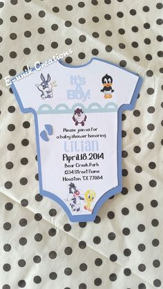 Hey, I found this really awesome Etsy listing at https://www.etsy.com/listing/232408778/looney-tunes-baby-shower-invitation