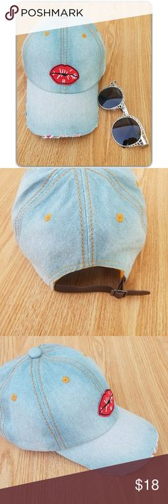 KISSES!Washed denim cap! Brand new  Distressed denim hat Brown adjustable strap in back of hat Cute lip patch on front💋 Accessories Hats
