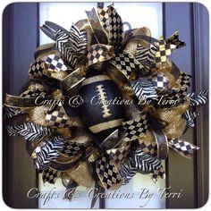 New Orleans Saints Wreath - Fleur de Lis Wreath - Black & Gold Saints Football Wreath - Deco Mesh Wreath - Door Decor - Made To Order by CreatedByTerri on Etsy https://www.etsy.com/listing/204617221/new-orleans-saints-wreath-fleur-de-lis