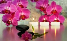 Candles Style Orchid Romantic Spa Flower Picture In Hd Wallpaper For Windows, Candle Lanterns, Pillar Candles, Glitter Candles, Candels, Feng Shui, Image Bougie, Orchid Spa, Art Zen
